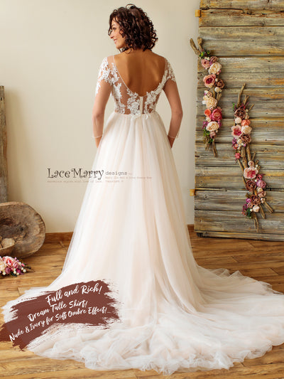 Amazing Tulle Skirt Wedding Dress with Long Lace Sleeves