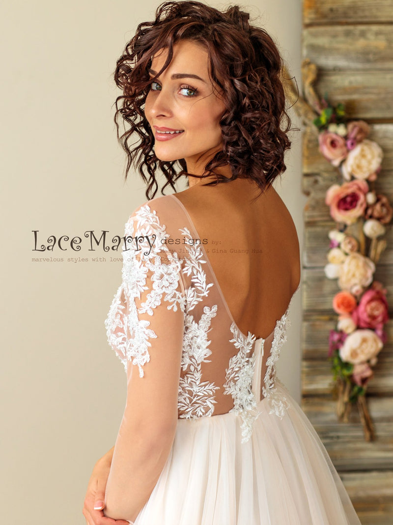 Gorgeous Boho Wedding Dress with Tattoo Design Sexy Top
