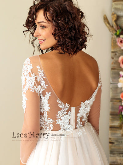 V Cut Back Wedding Dress