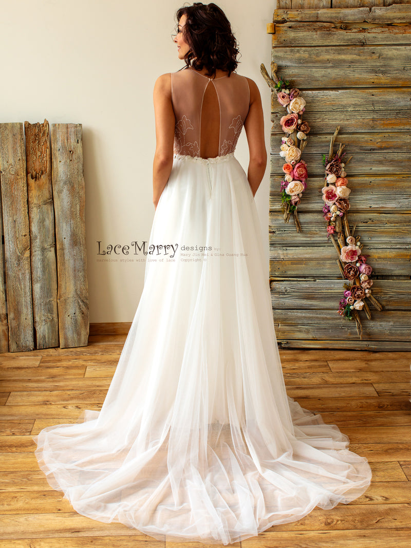 V-Neck Sexy Wedding Dress with Deep Plunge