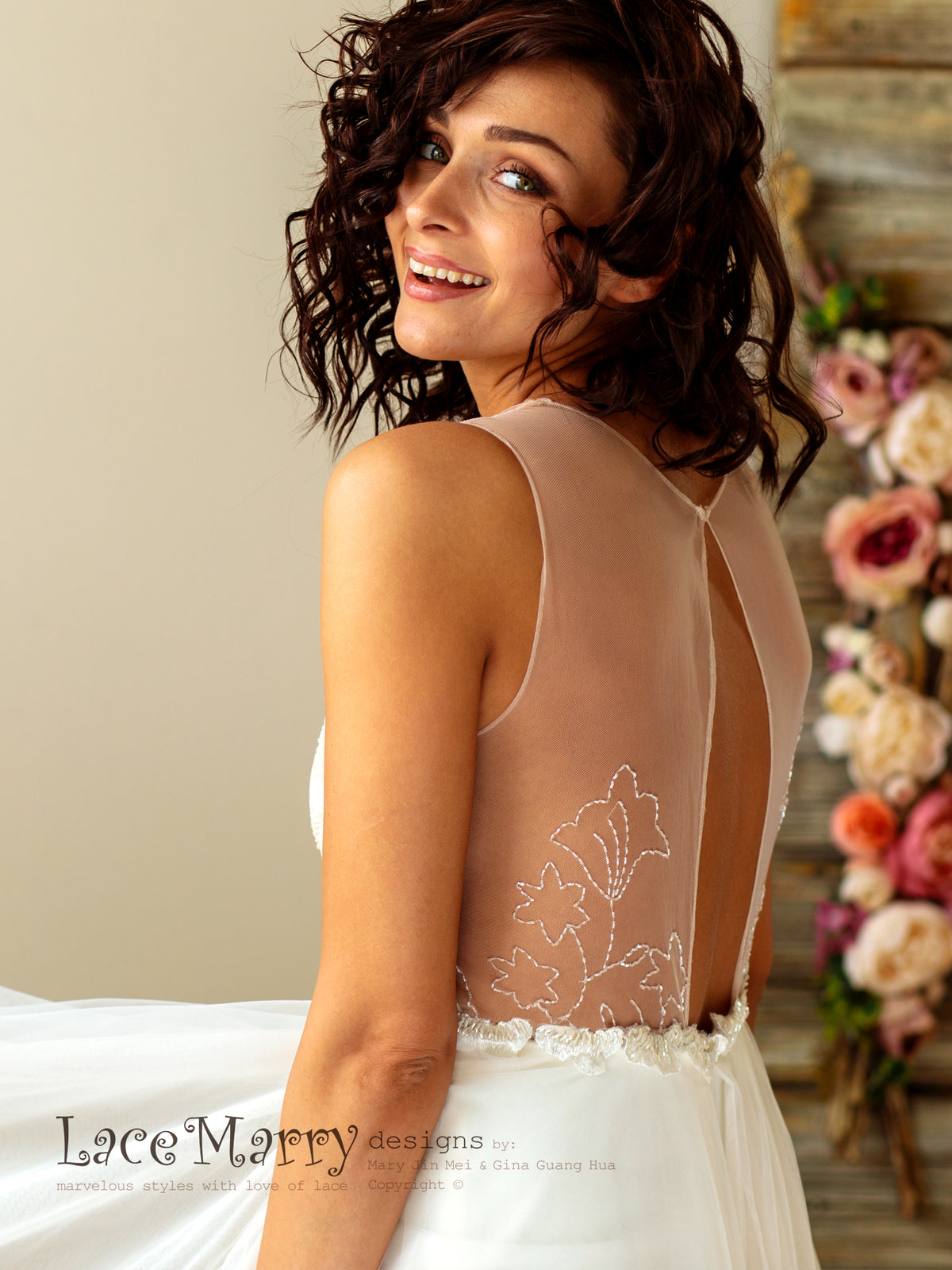 Embroidered Illusion Back Wedding Dress