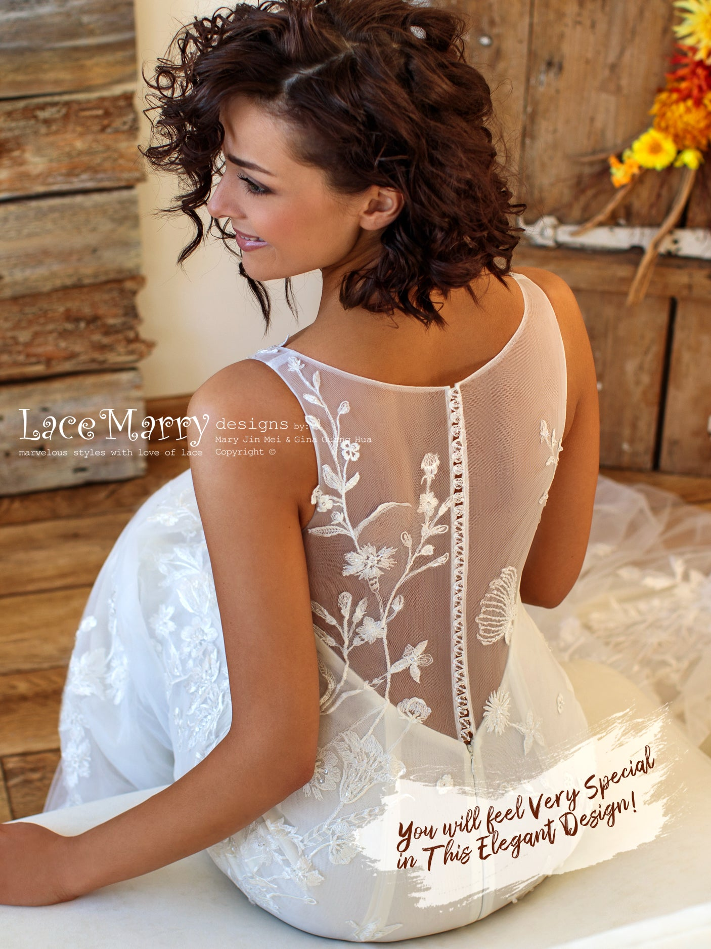 Elegant Illusion Back Wedding Dress with Crystal Buttons
