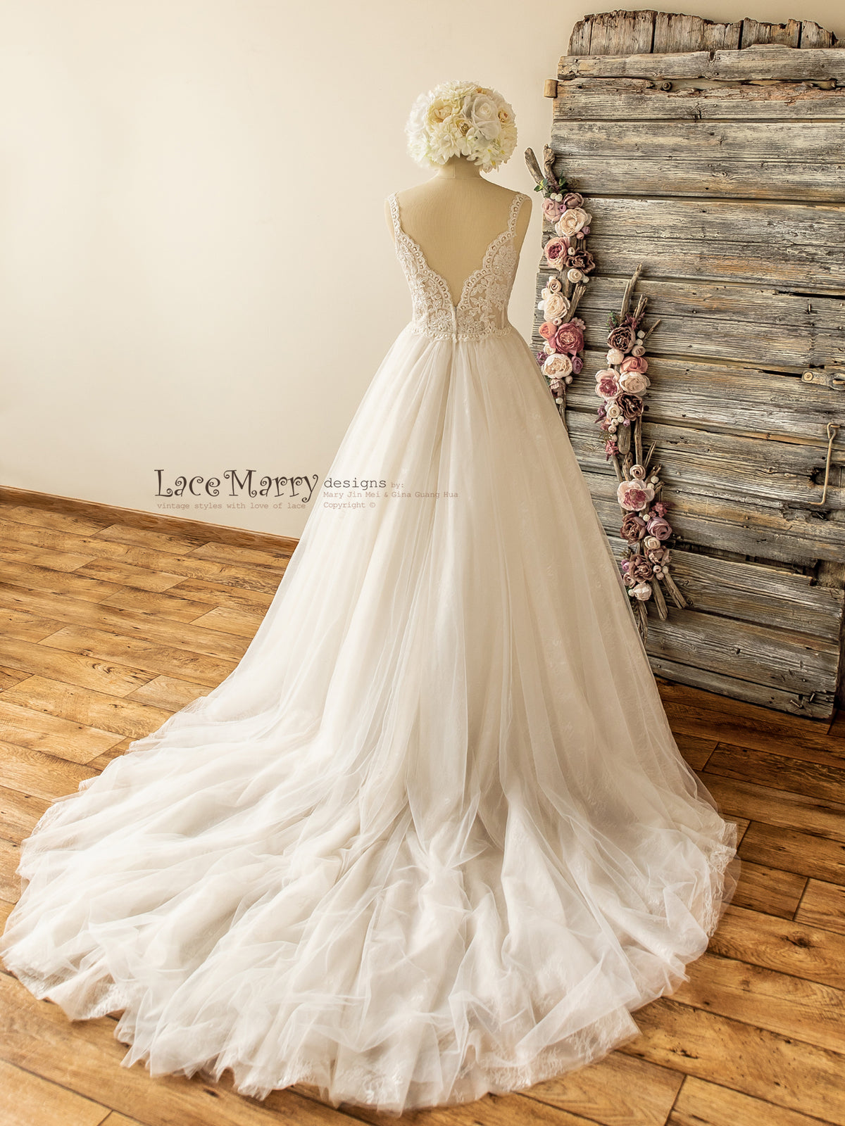 Gorgeous Cathedral Train Wedding Dress