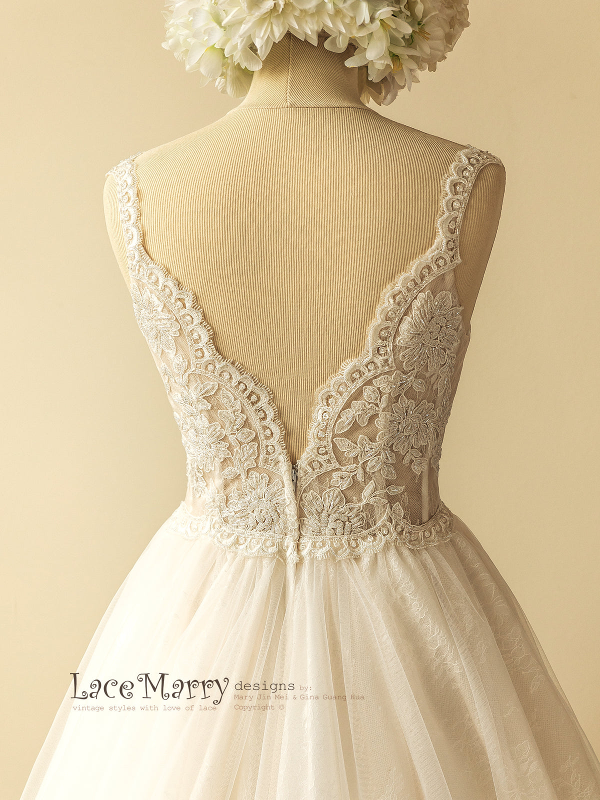 V Cut Back Lace Wedding Dress