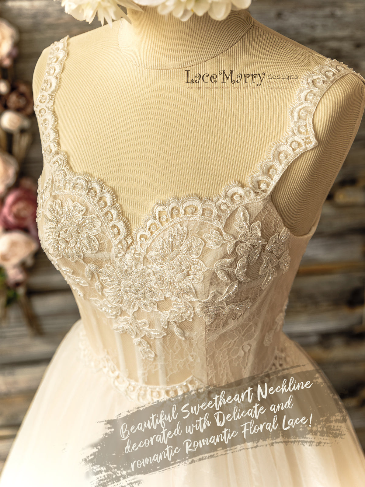 Lace Wedding Dress with Hand Beading