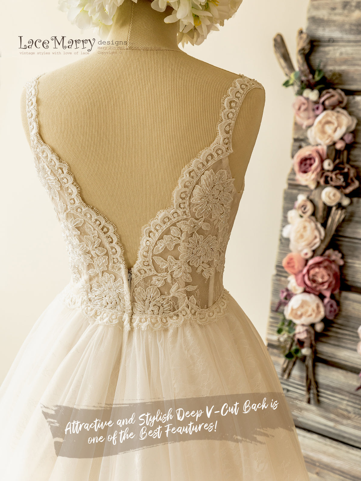 V Back Lace Wedding Dress
