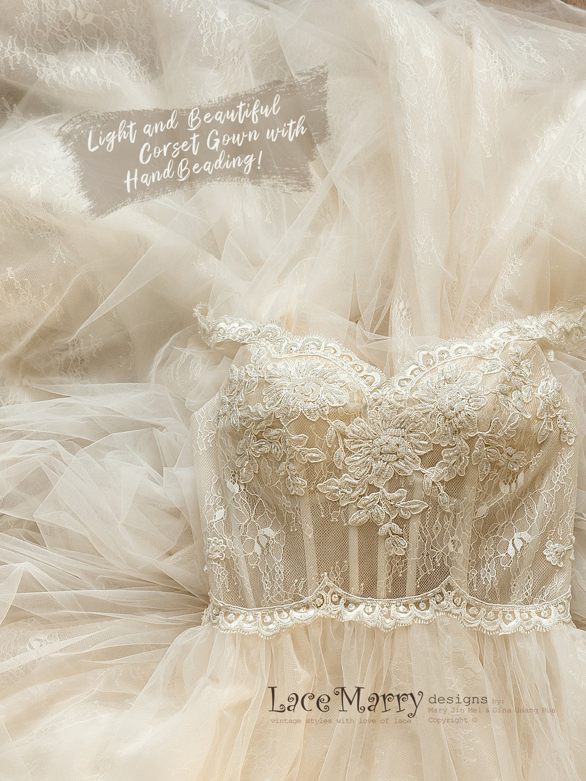 Romantic Tulle Wedding Dress with Corset Top
