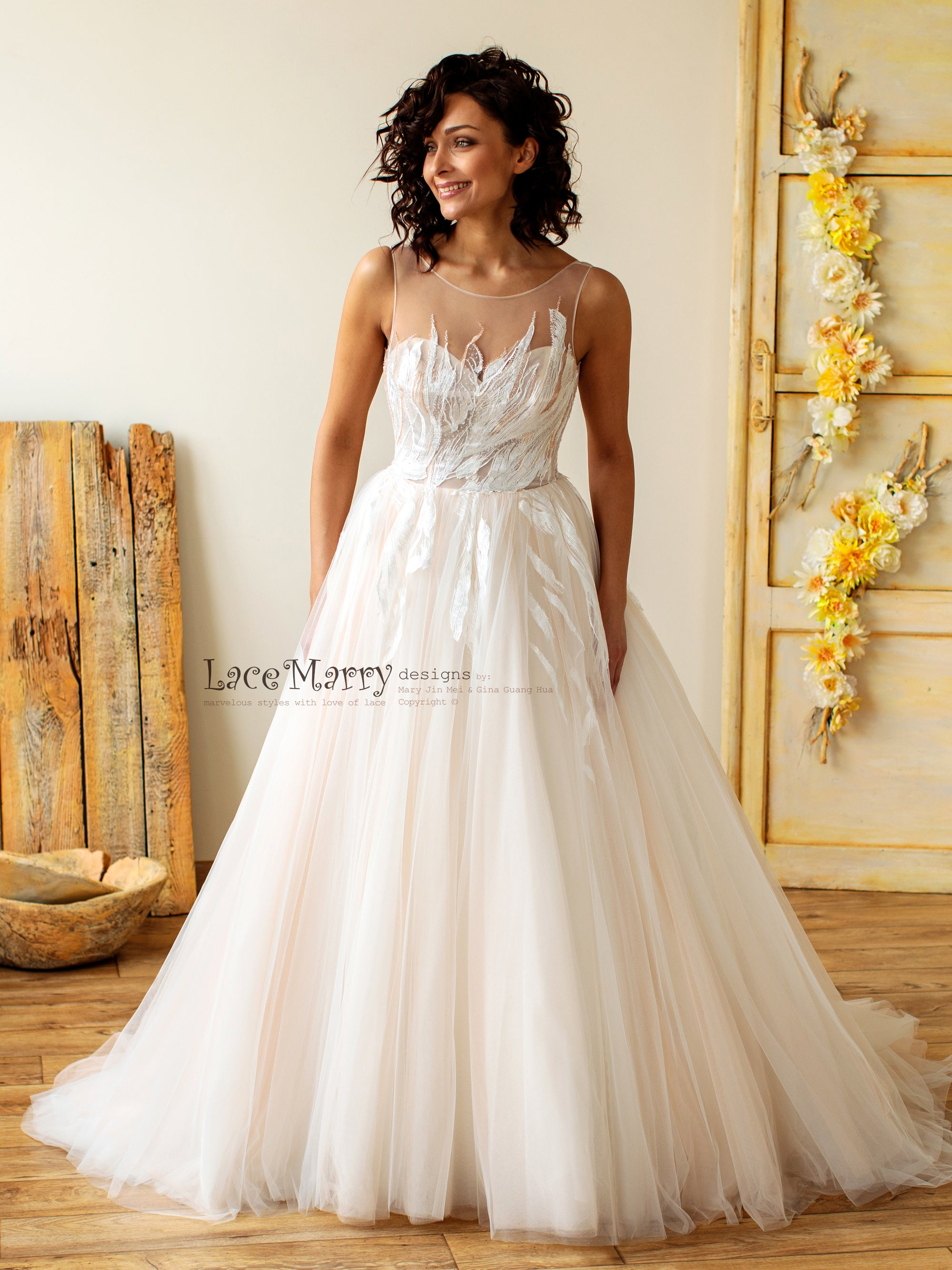 Princess Wedding Dress with Feather Appliques
