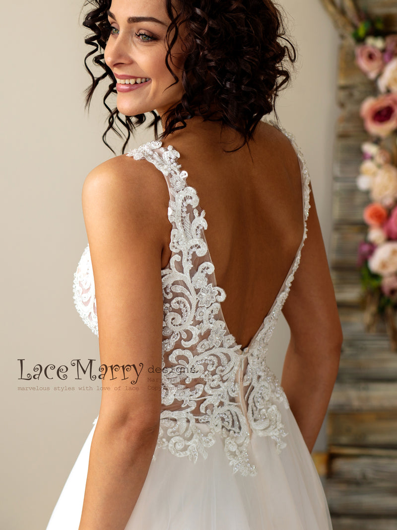 Swirl Lace Wedding Dress with Deep Plunge
