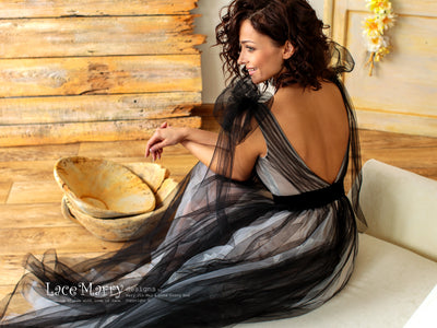 Black Ombre Tulle Wedding Dress