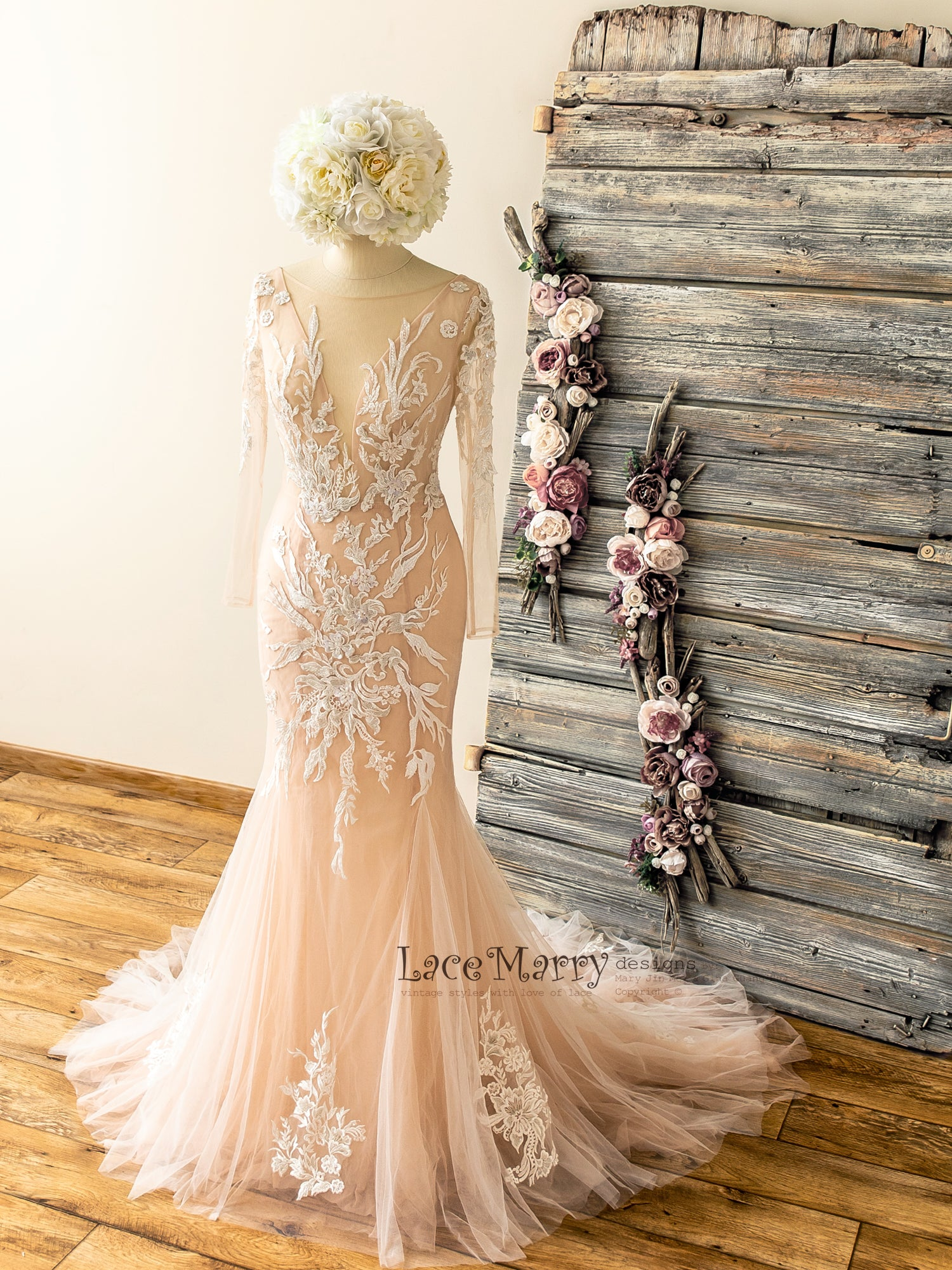 Mermaid Fitted Nude Wedding Dress with Long Sleeves and Lace Applique