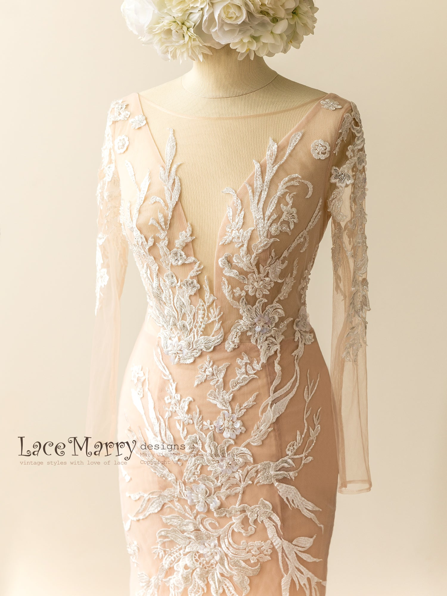Deep V Neckline Nude Wedding Dress with Log Sleeves and Beading