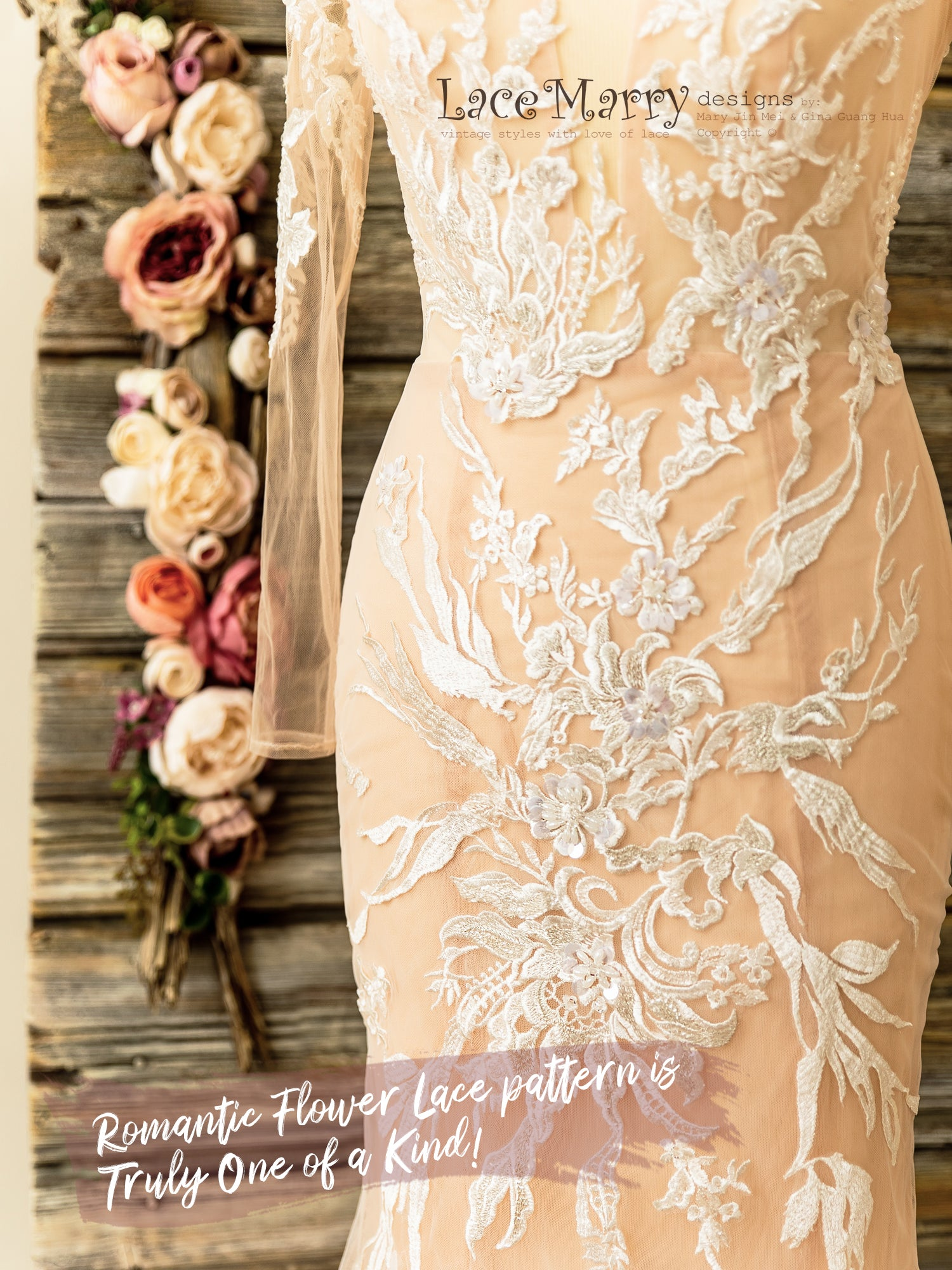 Nude Wedding Dress with Floral Lace Appliques and Beading