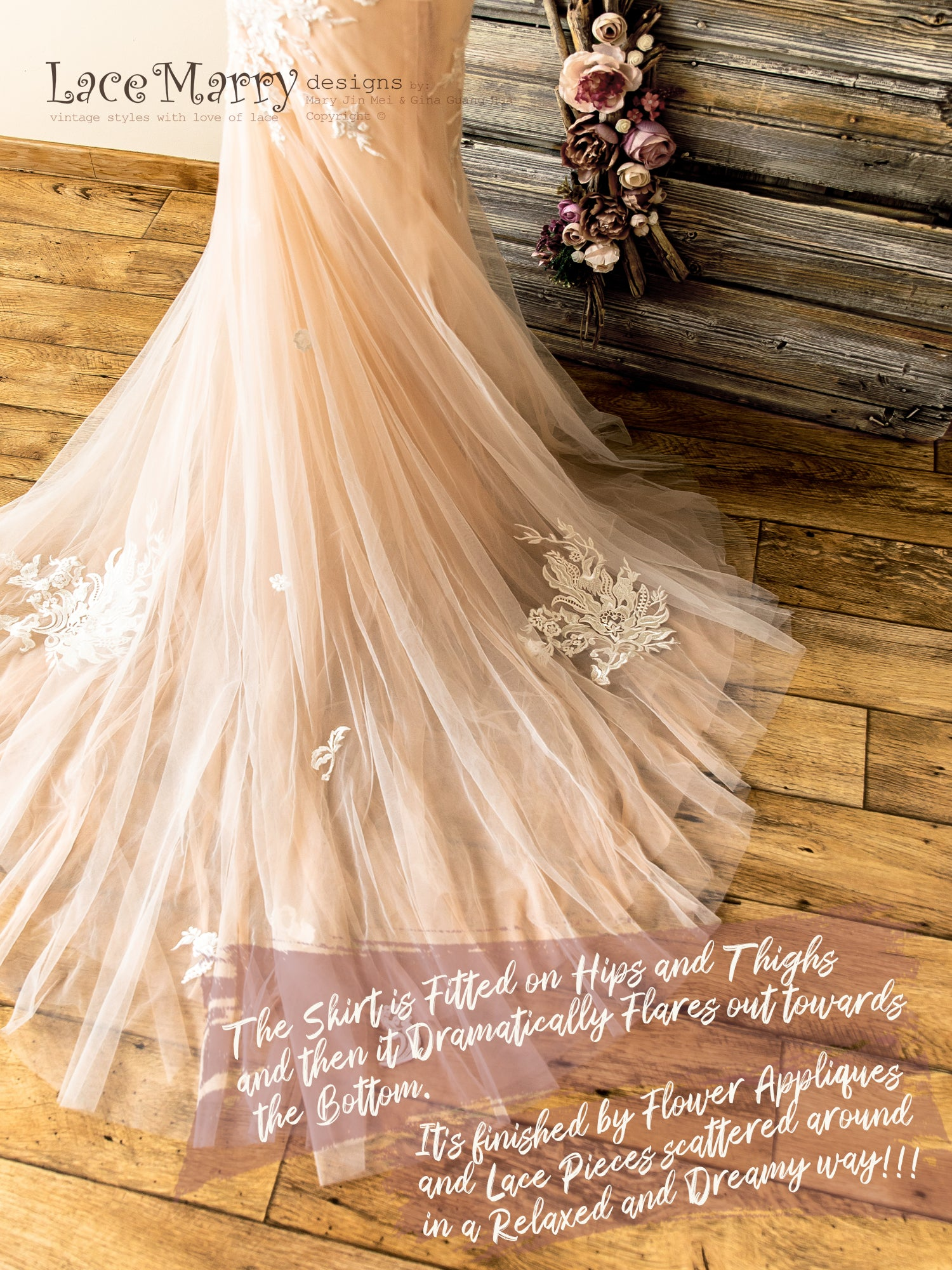 Nude Lace and Tulle Wedding Dress with Bohemian Train