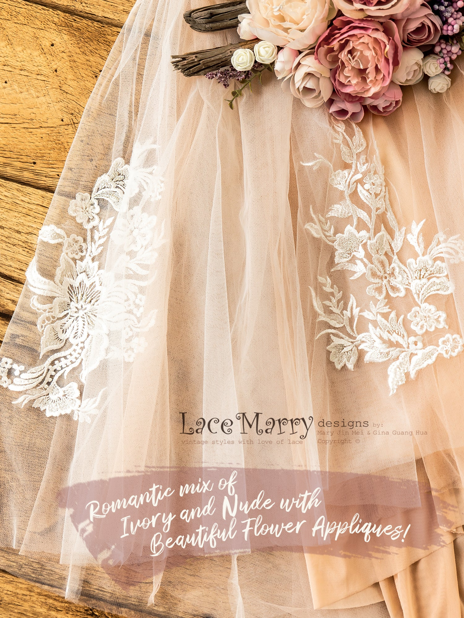 Nude Wedding Dress from Soft Tulle with Floral Lace Appliques