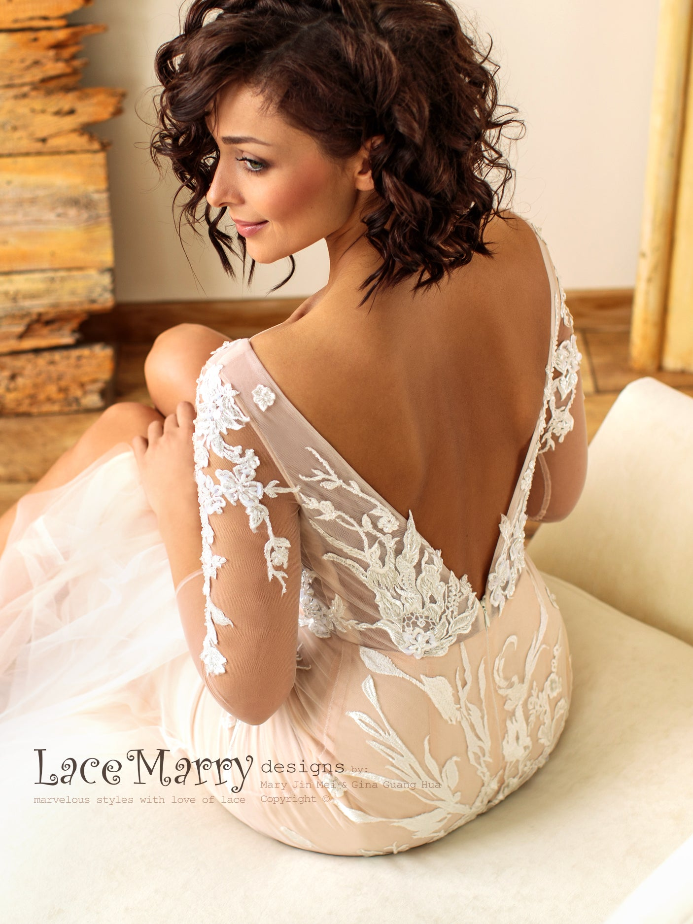 Deep Sexy Open Back Wedding Dress with Long Sleeves