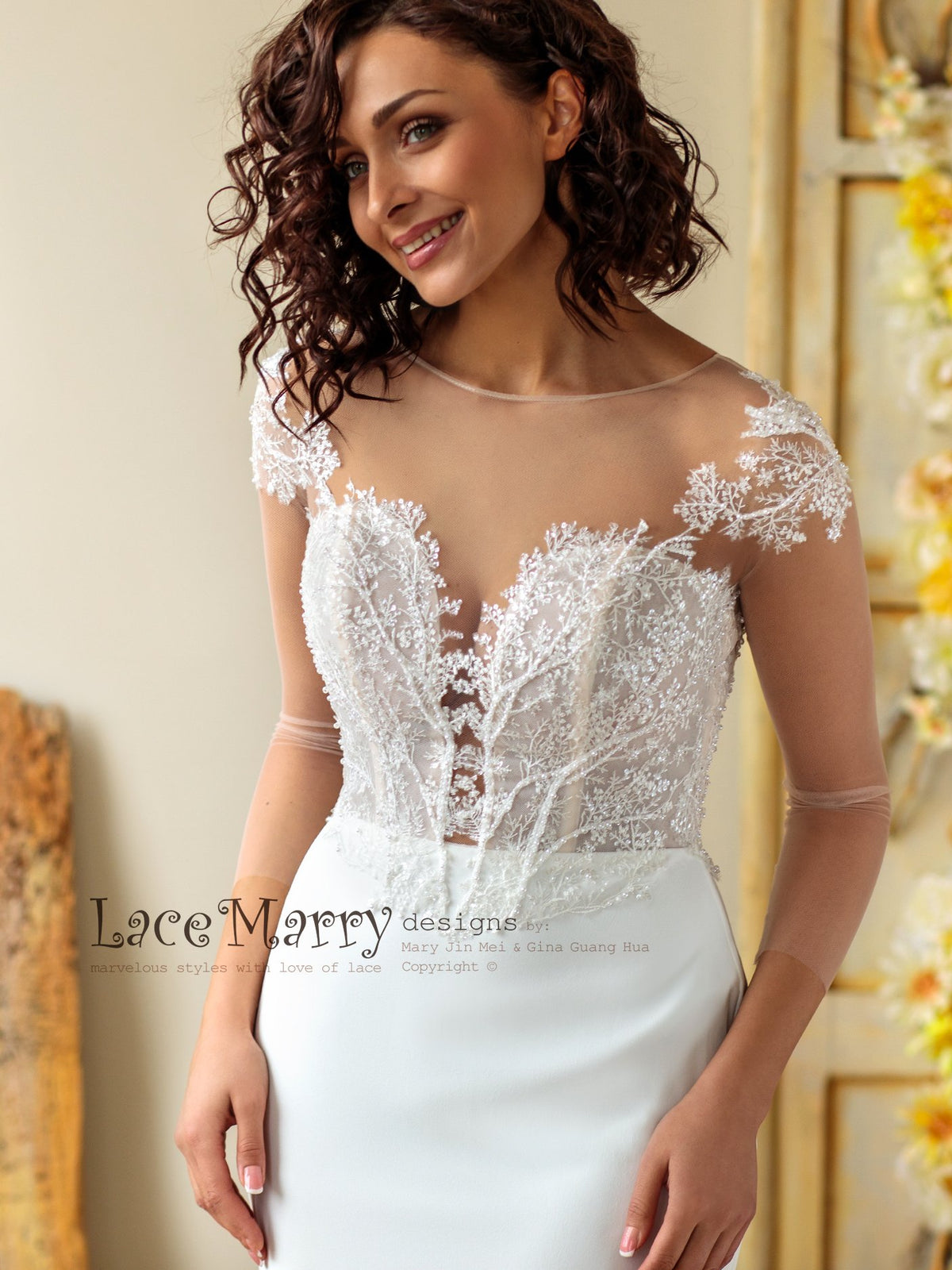 Hand Beaded Wedding Dress with Deep Plunge