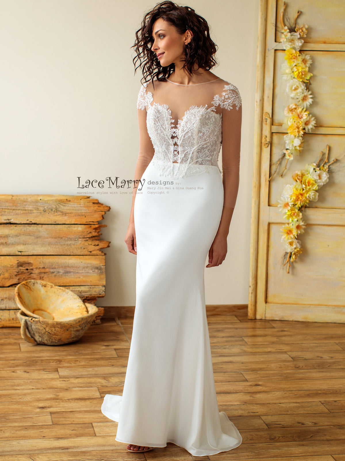 Sheath Boho Wedding Dress with Long Sleeves
