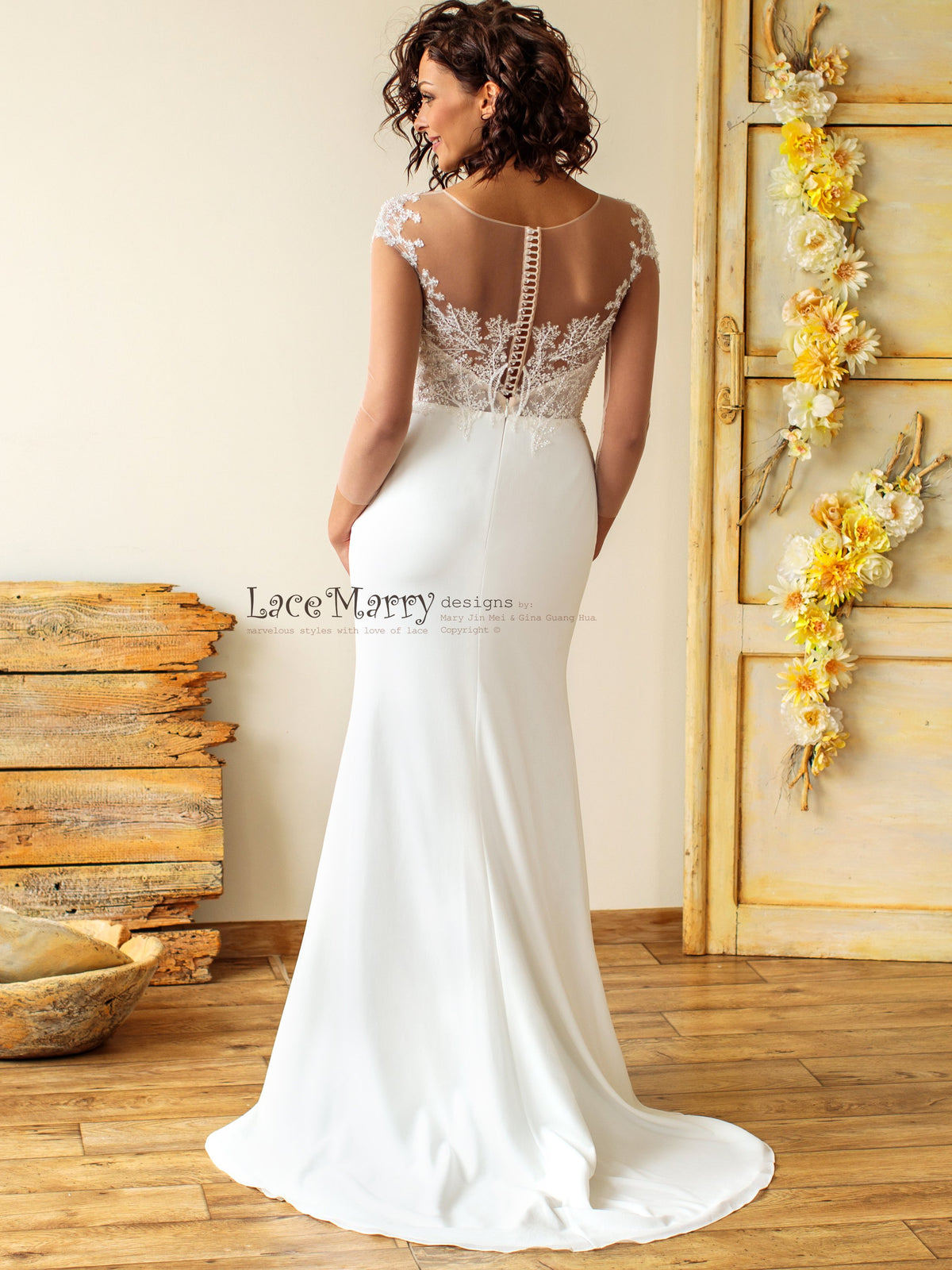 Beautiful Illusion Back Wedding Dress