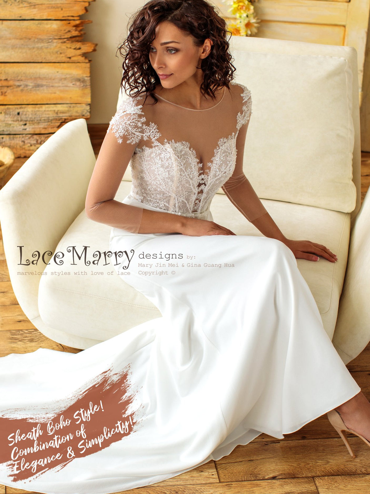 Fitted Chiffon Wedding Dress with Long Sleeves