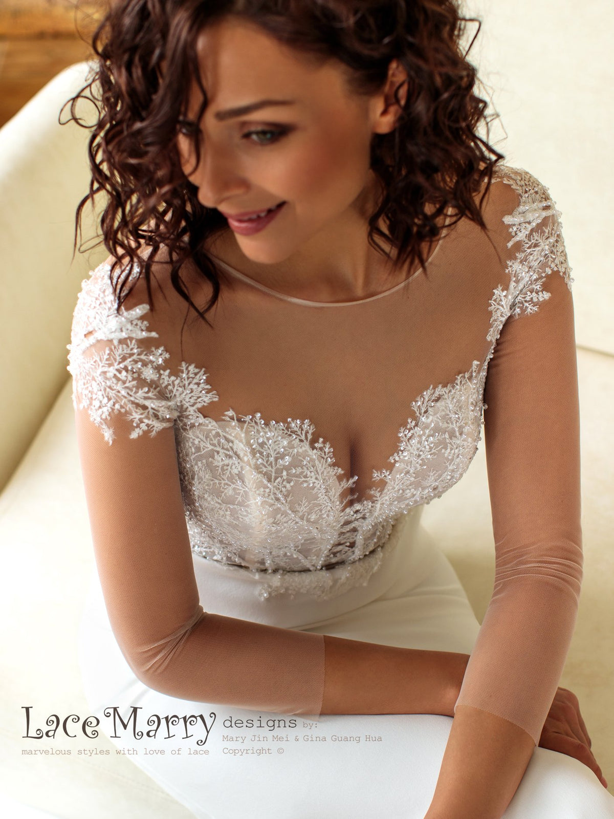 Gorgeous Wedding Dress with Illusion Neckline and Long Sleeves