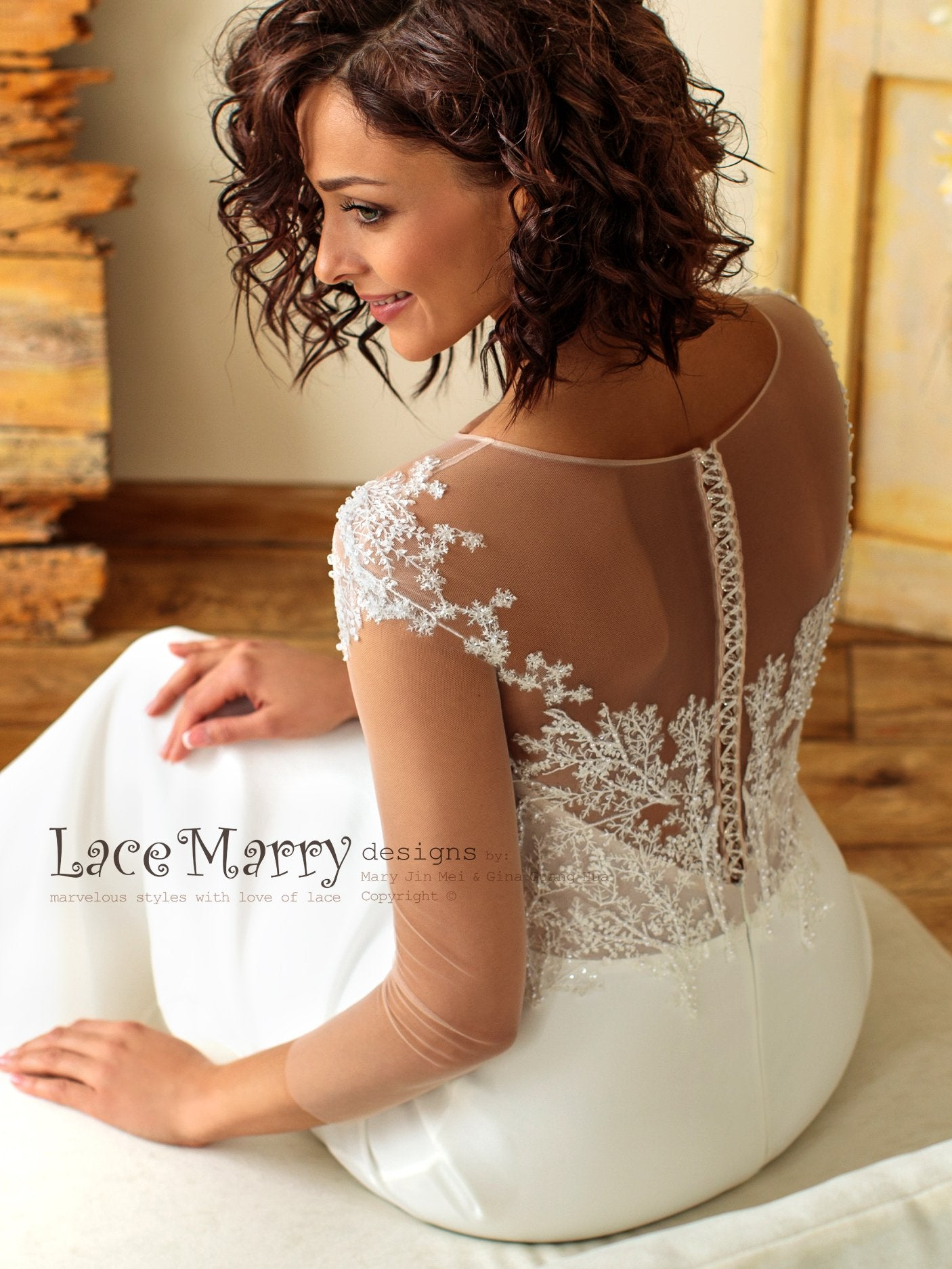 Sheath Boho Wedding Dress with Crystal Buttons Back Closure