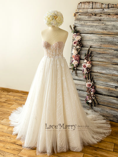 Bustier Wedding Dress with Lace Skirt