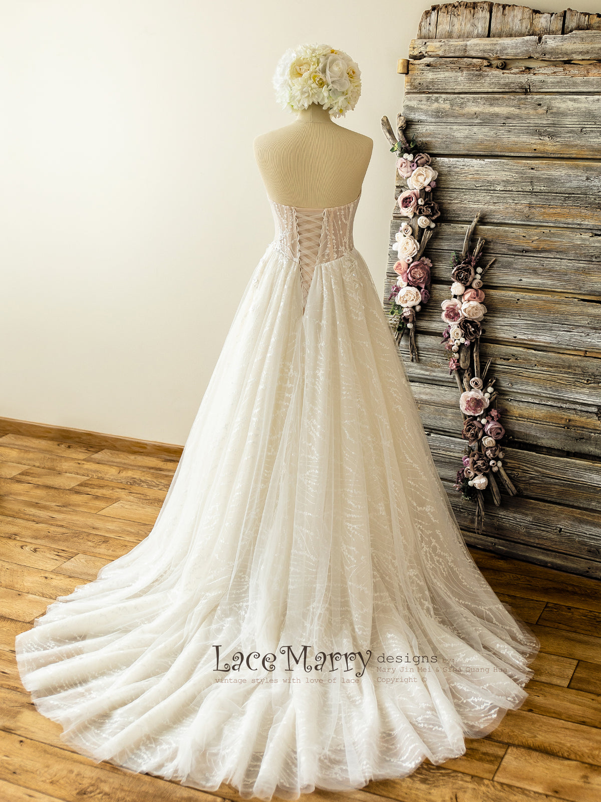 Strapless Wedding Dress with Hand Beading