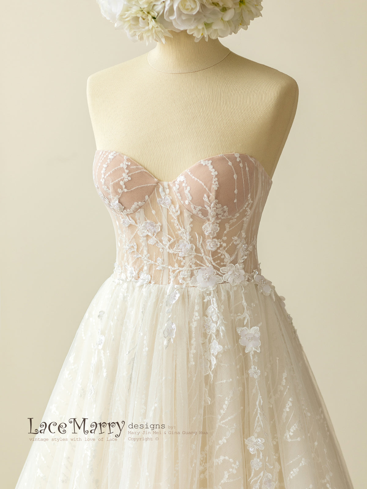Strapless Bustier Wedding Dress