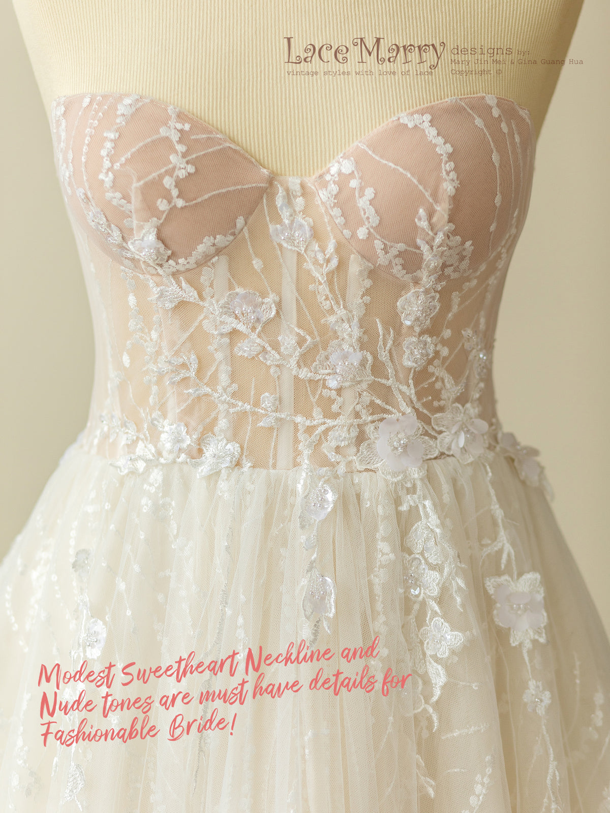 Lace Wedding Dress with Bustier Top