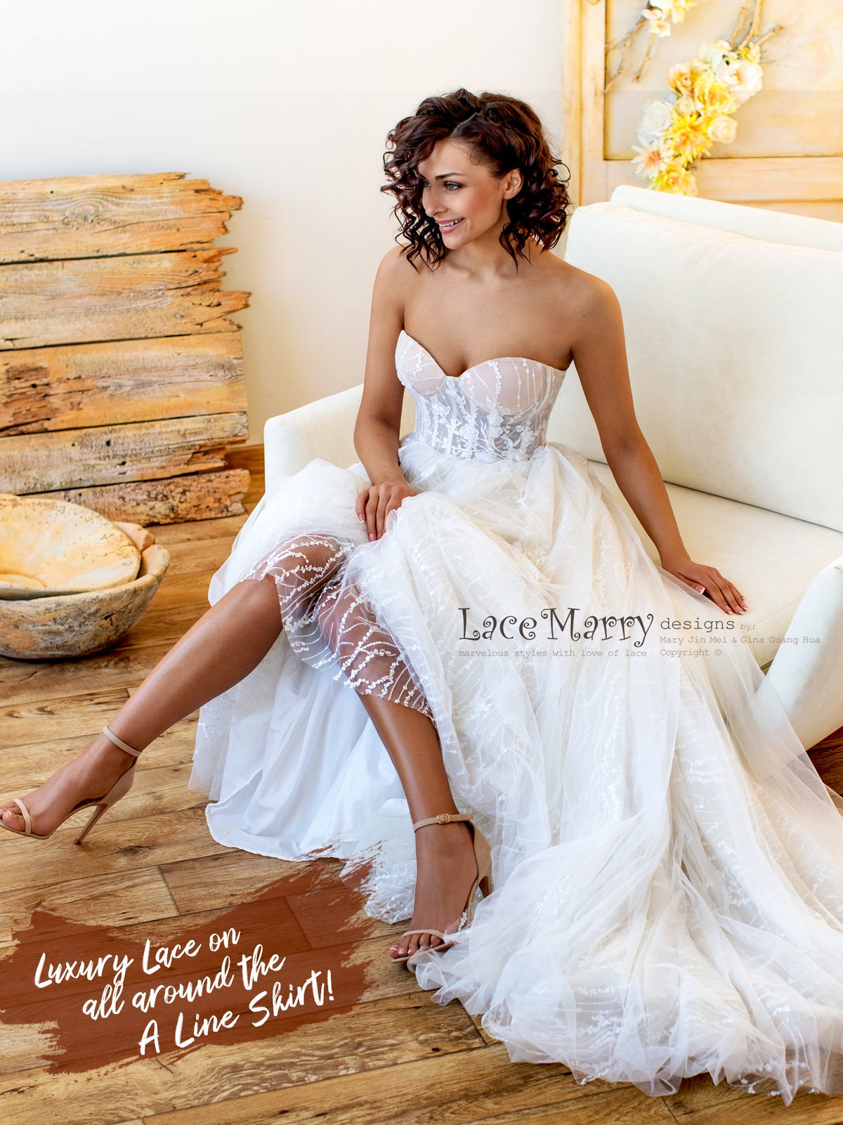 Strapless Sexy Wedding Dress with Sparkle