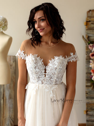 Boho Lace Wedding Dress With Illusion Off Shoulder Cap Sleeves
