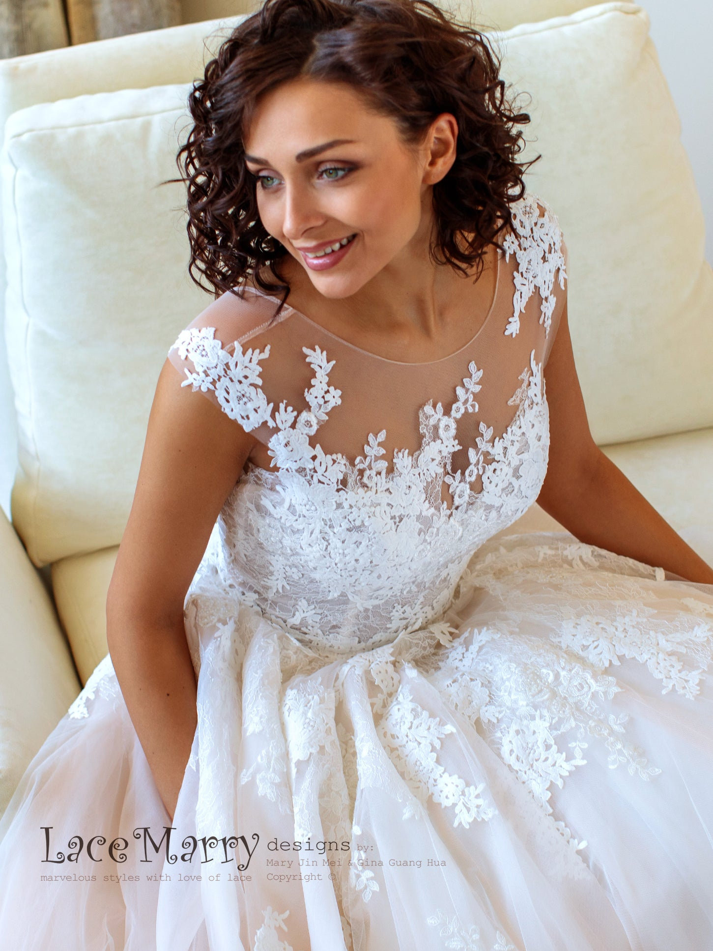 Illusion Neckline Lace Wedding Dress