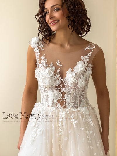 Gorgeous 3d Lace Wedding Dress with Deep Plunge