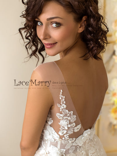 Champagne Wedding Dress with V Cut Back