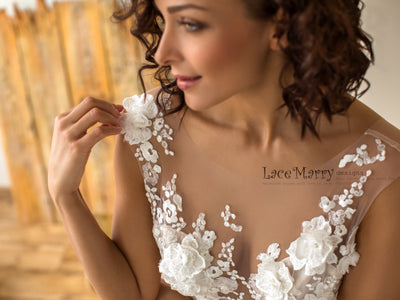 Gorgeous 3D Lace Wedding Dress with Plunge