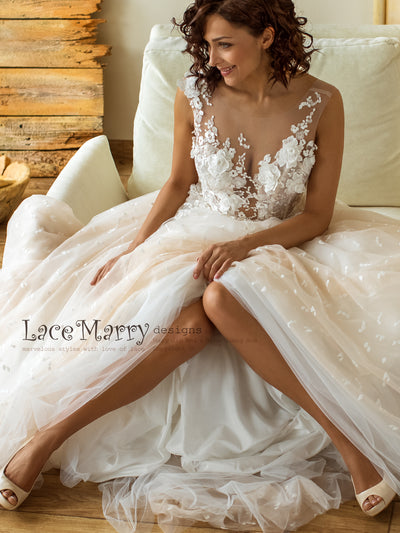Amazing Ombre Wedding Dress with Dotted Tulle Skirt and Deep Plunge Neckline