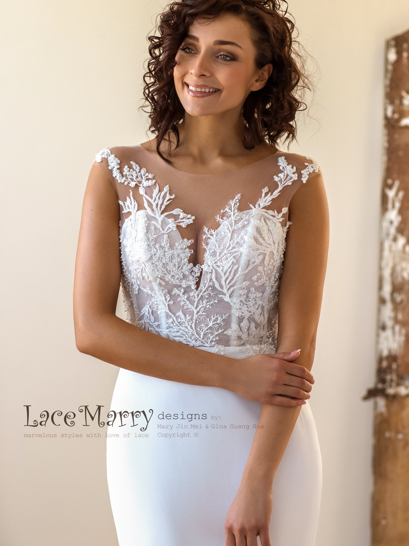 Fitted Wedding Dress with Illusion Neckline