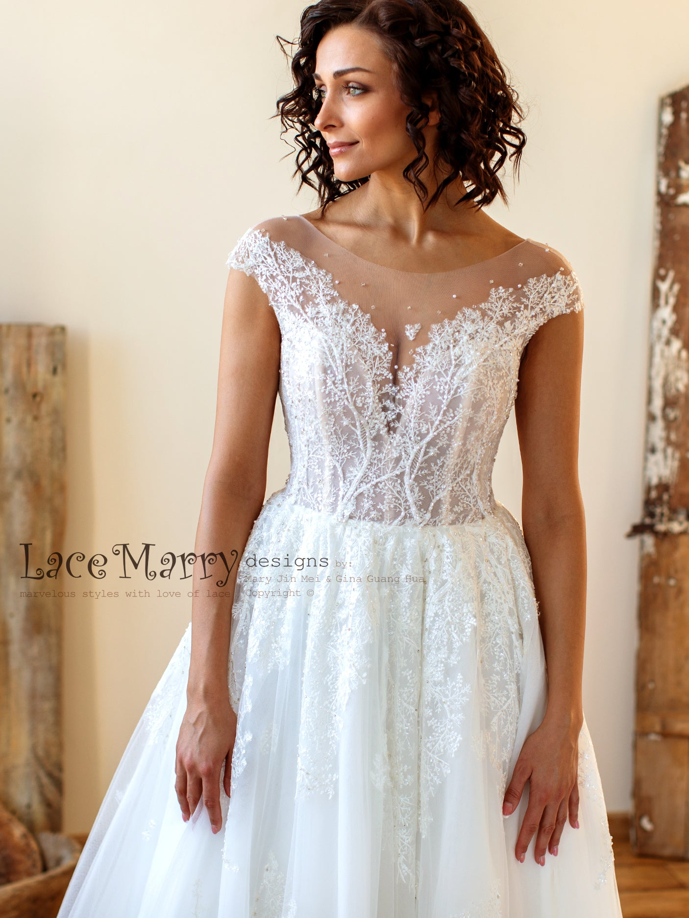 Embroidered Lace Wedding Dress with Illusion Cap Sleeves