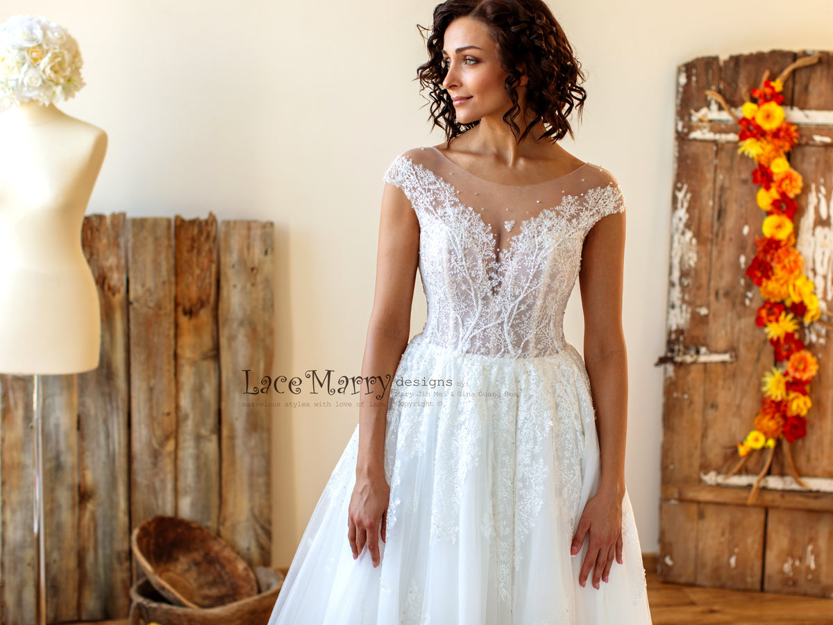 Beach Wedding Dress with Cap Sleeves