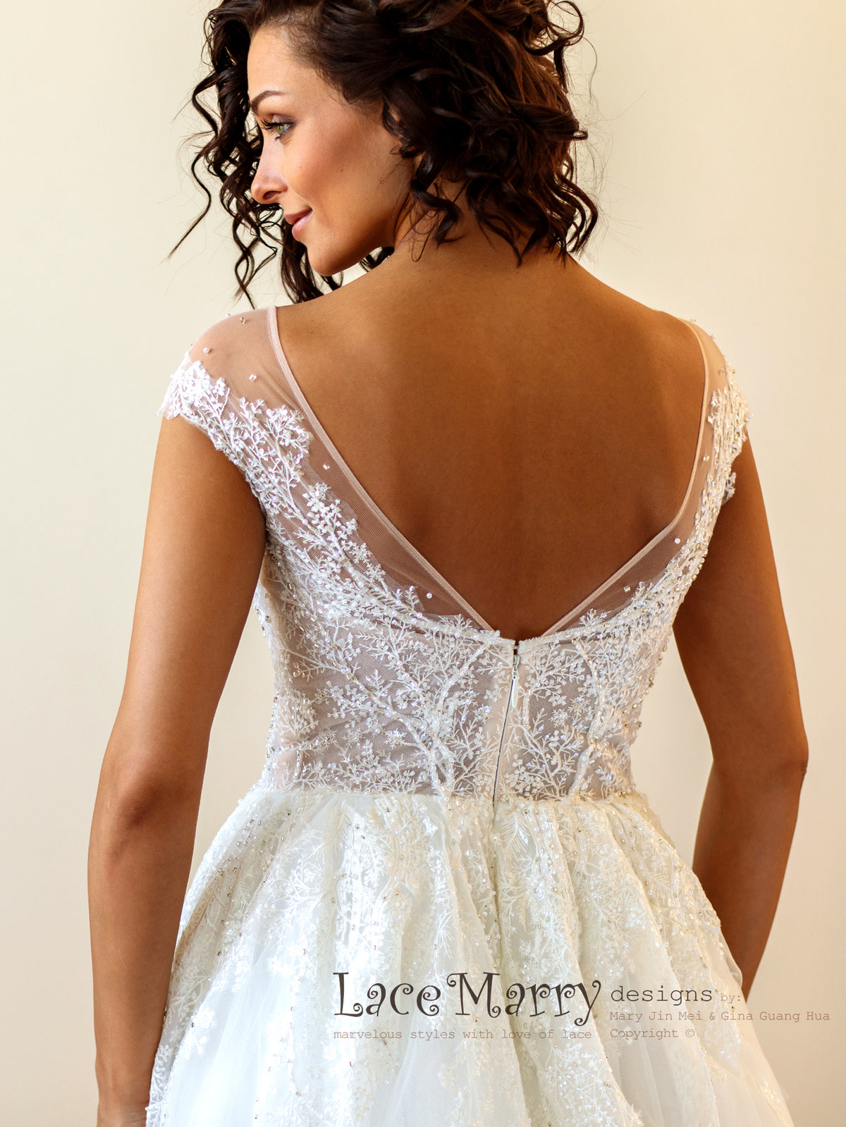 V Back Illusion Wedding Dress