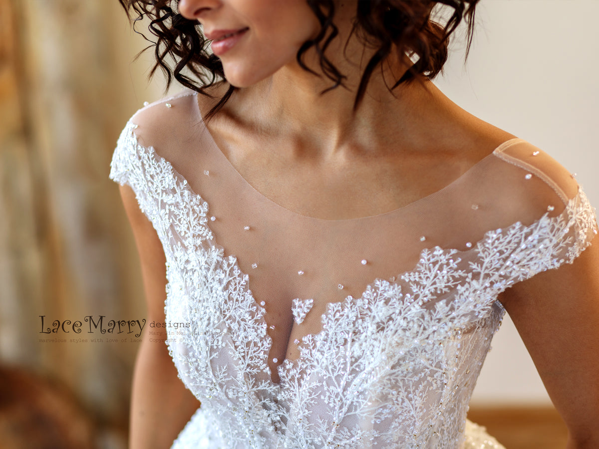 Super Illusion Neckline Wedding Dress