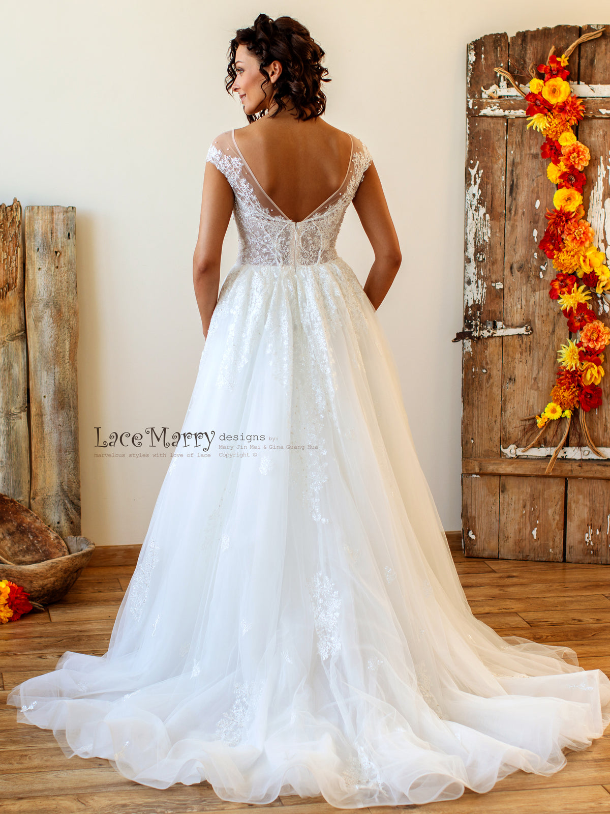V  Back Wedding Dress with Horsehair Skirt