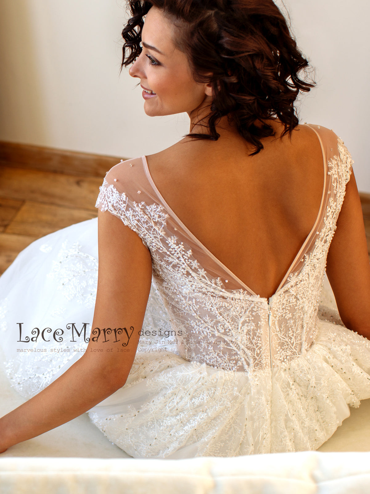 Custom Made V Back Wedding Dress
