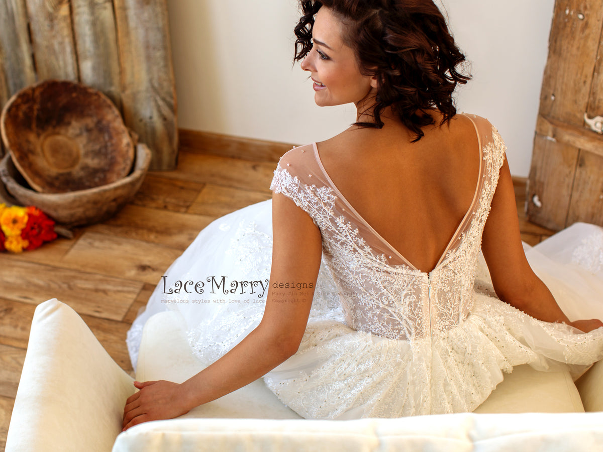 Modest V Cut Back Wedding Dress
