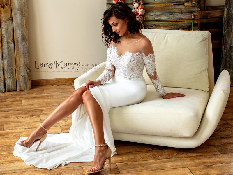 Off-Shoulder Lace Wedding Dress with Long Sleeves