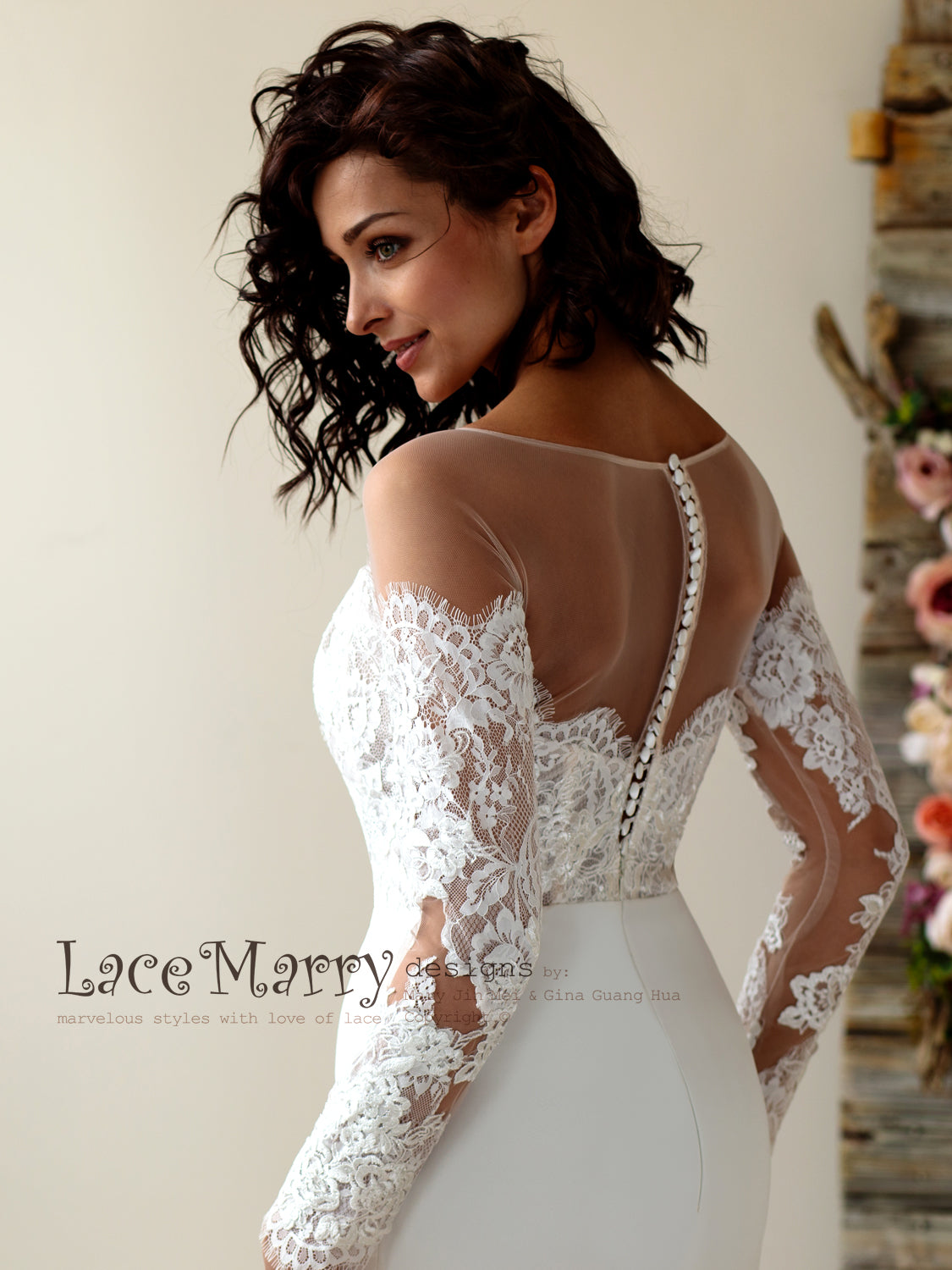 Off Shoulder Lace Wedding Dress with Long Sleeves