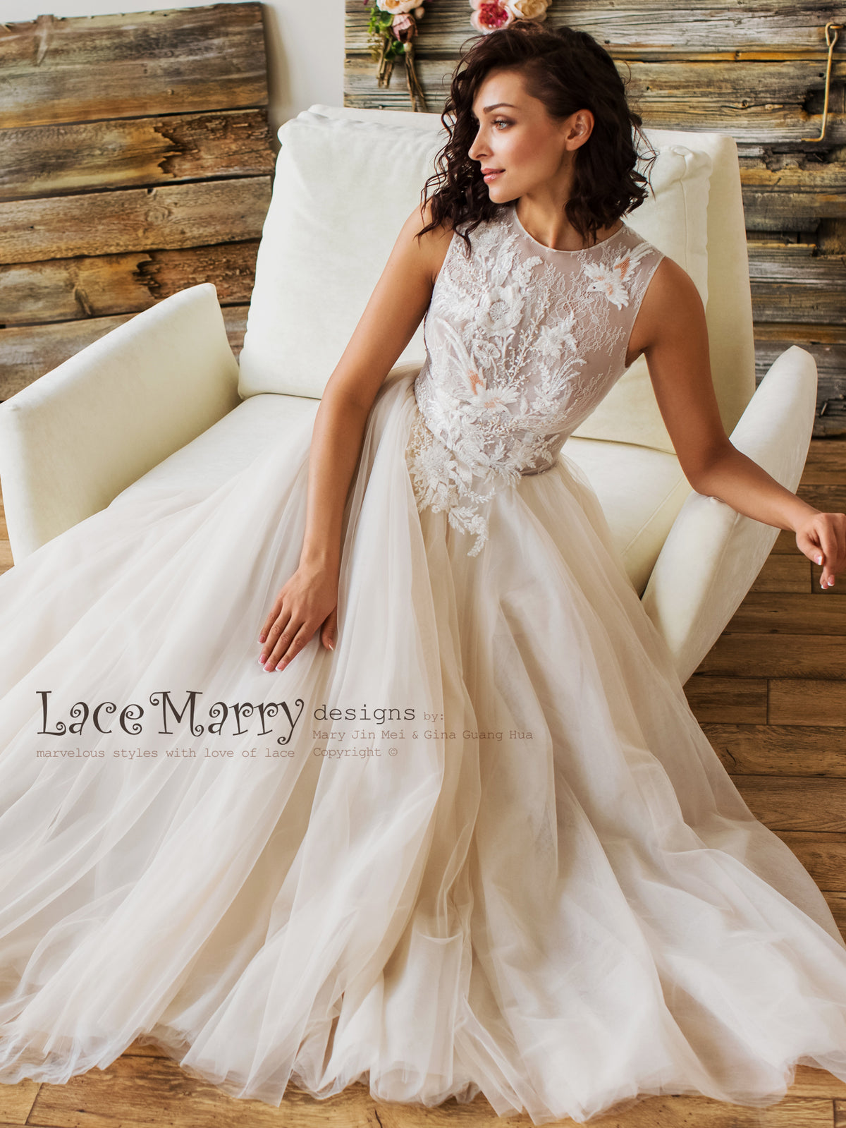 Ombre Wedding Dress with Sparkly Beading
