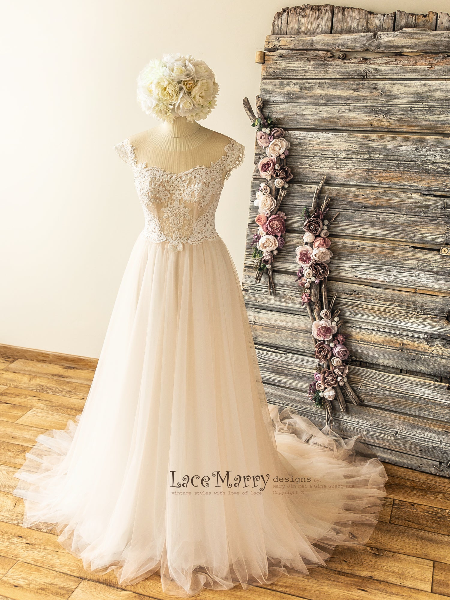 Elegant Boho Wedding Dress with Illusion Neckline