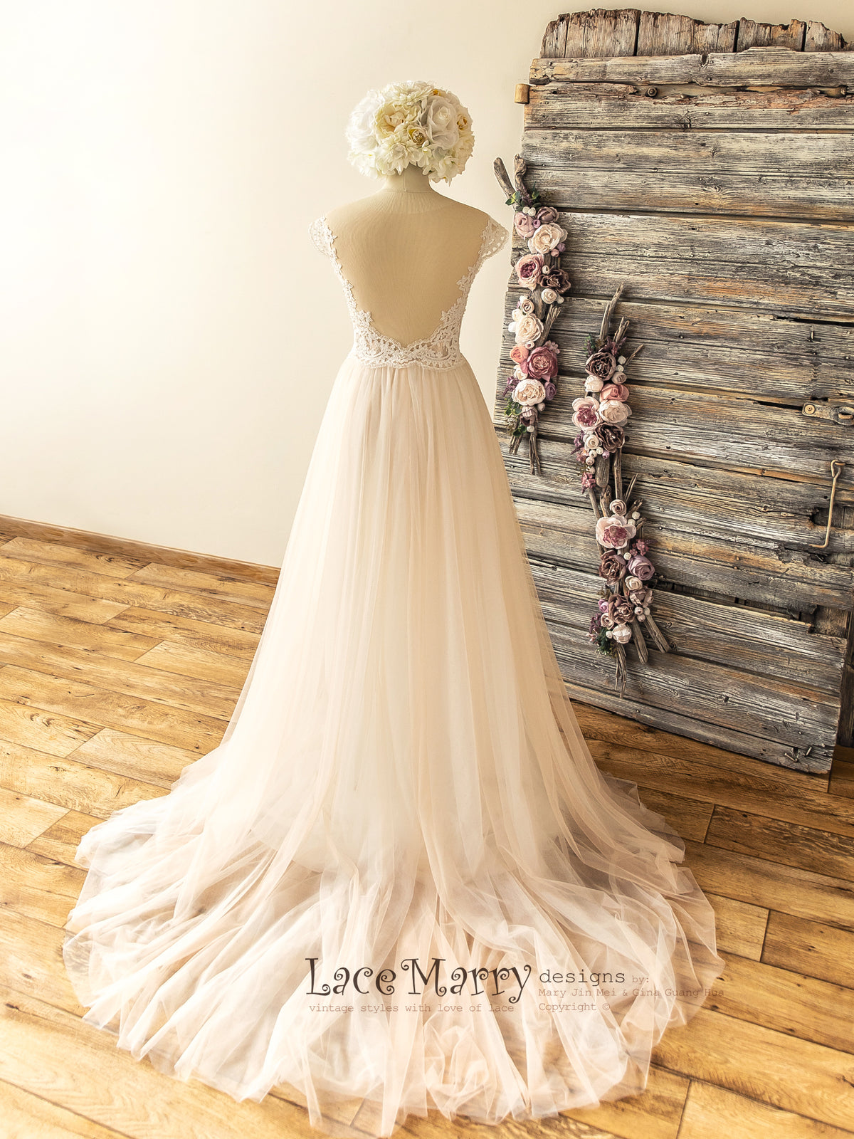 A Line Tulle Boho Wedding Dress